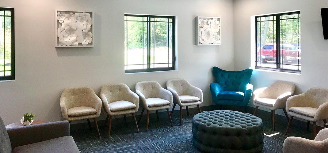 Comfortable seating in orthodontic office waiting room
